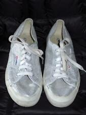 SUPERGA Silver Sparkle Lace Up Sneakers Tennis Shoes  10