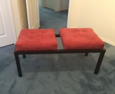 Contemporary bench - matte black steel frame - coral red micro suede cushions