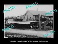 OLD LARGE HISTORIC PHOTO OF DODGEVILLE WISCONSIN, THE STRATTMAN VEHICLE Co c1910