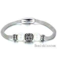 Retro Charm Manmade Pearl Stainless Steel Chain Mesh Bracelet w Magnetic Clasp