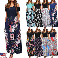 Women's Cold Shoulder Floral Print Elegant Short Sleeve Long Maxi Dress Sundress