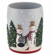 Avanti Country Friend Resin Waste Basket - Snowmen - Grey - New