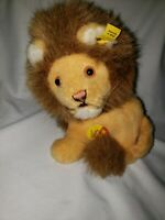 """Vintage STEIFF 1970's """"Snuffy"""" Lion 8"""" with button & 3518/18"""
