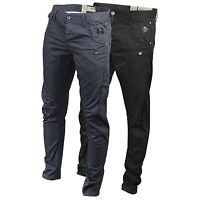Mens Crosshatch Chinos Trousers Kractus Quality Twisted Leg Tapered Casual Jeans