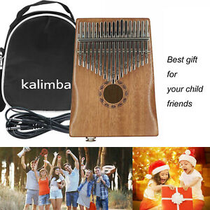 17 Keys Wooden Electric Pickup Kalimba Thumb Piano Xmas Gift Toy Set w/ Bag