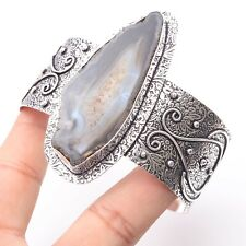 Bangle Silver Plated Jewelry T5226 Agate Geode Slice Unique Style Adjustable
