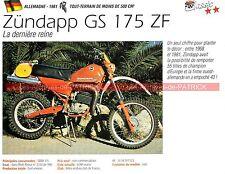 ZÜNDAPP GS 175 ZF ( GS175 Xavier AUDOUARD ) 1981 Fiche Moto 000263