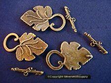 3 Grape leaf bronze plated  zinc necklace or bracelet toggle clasp sets fpc328