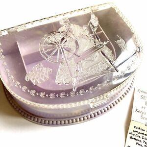 Vintage HOMMER Lavender Sewing Supplies Box SPINNING WHEEL Hinged Lid Plastic