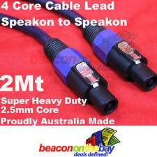 Aussie Made 2 Meter Speakon to Speakon 4 Core 2.5mm² Heavy Gauge Cable Lead S06