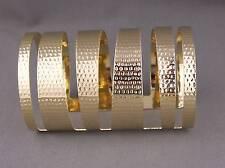 Gold hammered metal bangle cuff wide bracelet pharoah toga cleopatra costume