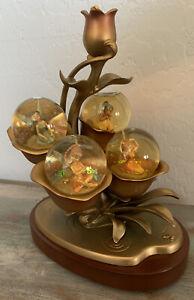 Rare Disney Store Snowglobe Tinkerbell Fairies Lighted Gold Rose- Damaged