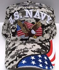 U.S. NAVY VETERAN Cap/Hat w/Eagle & Flag Military CAMO**Free Shipping**