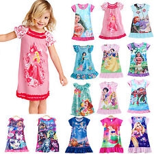 Girls Kids Nightie Nightdress Disney Pyjamas Summer Sleepwear Dress 2-13Y TOPS