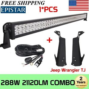 "50"" 288W LED Light Bar+Upper Roof Mounting Bracket For Jeep Wrangler TJ 1997-06"