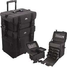 Black Salon Trolley 2 in 1 Rolling Professional Beauty Makeup Carrying Case New