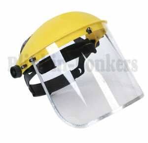 CLEAR FLIP UP FULL FACE SHIELD SAFETY SCREEN MASK EYE PROTECTOR SPARE VISORS 24A