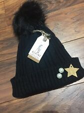 Winter Ladies Large Pom Pom Faux Fur Warm Knitted Hat Black