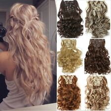 Hair extensions ebay uk full head real thick clip in hair extensions long curly straight 8 piece pmusecretfo Images