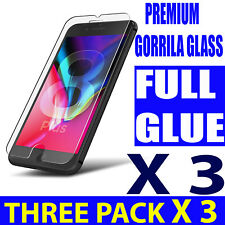 3X FOR iPHONE 5S,5C,6,7,8+,X,XS,100% BUBBLE FREE TEMPERED GLASS SCREEN PROTECTOR