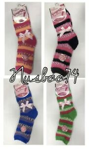 Ladies Exquisite Elegance Snuggle Fluffy Toes Socks Stripes Comfortable 4-7