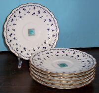 LOT OF 5 NORITAKE STUDIO COLLECTION SAUCERS BLUE FLOWERS ON WHITE WITH GOLD TRIM