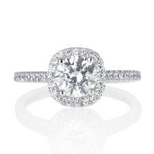 1 Ct D VS1 Halo Diamond Engagement Ring Round Cut 14K White Gold Enhanced