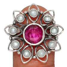 Ruby - India 925 Sterling Silver Ring Jewelry s.7 AR174661 116V