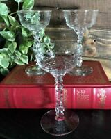 3 Vintage Rock Sharpe Etched dessert / Champagne glasses floral Decorated Stem