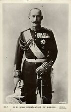 King Constantine I of Greece in Uniform, Medals (1920s) RPPC Postcard