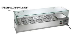 """Arctic Air ACP55 10-Pan 55"""" Refrigerated Prep Station Topping Rail + SneezeGuard"""