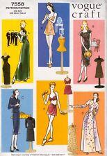 "Vogue Pattern 7558 609 11.5"" Fashion Doll Vintage Retro Clothes Circa 1945 Dress"