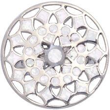 Medaglione Anello Con Opale Bianco schiacciato resina 925 Argento Nuovo da ARI D Norman