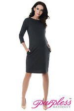 Purpless Maternity Casual Pregnancy Tulip Dress Tunic Top With Pockets 6107 Dark Gray UK 18