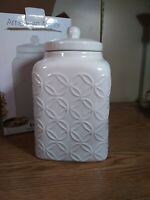 """American Atelier Cookie Jar With Embossed Cover 6.25""""x 10.5"""" gloss white New"""