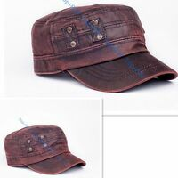 Men's New Retro Faux Leather Plat Military Patrol Cadet BaseBall Cap Outdoor Hat