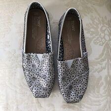 Toms Metallic Sparkle Silver Ballet Flats Patterned Shoes SZ W7 / 7