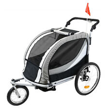 Clevr Deluxe 3-in-1 Double Seat Bike Trailer Stroller Jogger for Kids, Grey