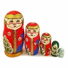 Santa Claus Russian Nesting Doll Hand Carved Hand Painted 5 1/2 Inch