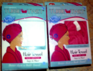 LOT of 2 THE ORIGINAL TURBIE TWIST super absorbent hair towel 1 WHITE 1 PINK NEW