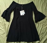 Stradivarius Women's Black Bardot Fit And Flare Dress Size S Small New With Tags