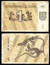 Lithuania 1 TALONAS 1991 P 32a CIRCULATED