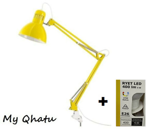 IKEA TERTIAL Yellow Clamp Table  Lamp Adjustable Desk Office + Ikea LED Bulb
