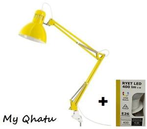 IKEA TERTIAL Yellow Clamp Table  Lamp Adjustable Desk Office + Ikea LED Bulb