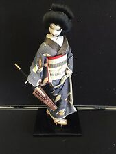 Japanese Geisha Silk Figure on Stand with Parasol