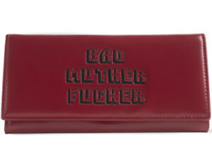 Pink Clutch Embroidered Bad Mother Fu**er Leather Wallet As Seen in Pulp Fiction