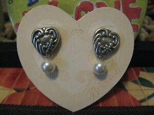 Brighton Decorative CLASSIC HEART PEARL DROP Earrings~ NEW With Pouch ~ ELEGANT!