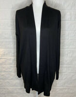 NWT Sanctuary Women's Black Long Sleeve Open Front duster Cardigan Sweater M H8