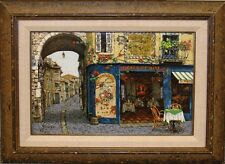"Viktor Shvaiko ""L'Orchidee"" Signed & Numbered Canvas European street scene L@@K!"