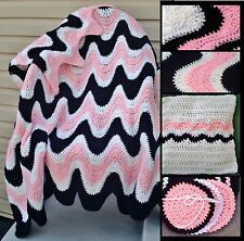 3 Color Exaggerated Ripple Afghan / Throw, Pillow & Coasters Crochet Patterns